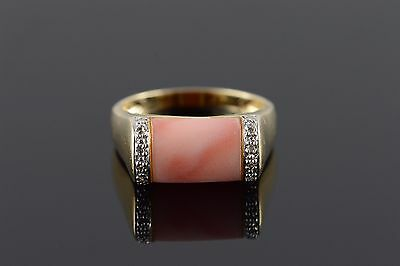 14K 11x8mm Coral 0.05 CTW Diamond Ring Size 8 Yellow Gold