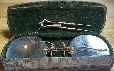 Very Cool Antique Vintage Old Gold Wire Eyeglasses Glasses/Specticals w/ Case