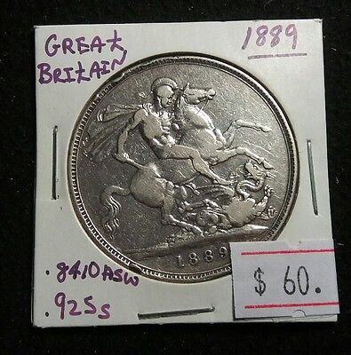 Great Britain 1889 Victorian Crown Sterling Silver High Grade Coin Lot#408