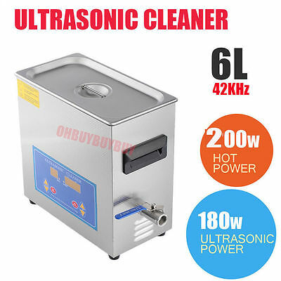 200WStainless Steel 6L Liter Industry Heated Ultrasonic Cleaner Heater w/Timer S