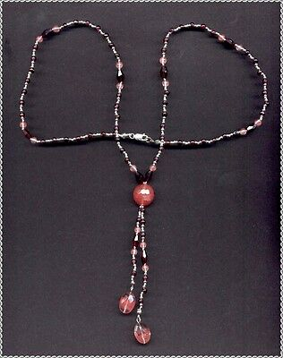 Garnets, Strawberry Quartz & Sterling Beads Necklace  With Earrings OTH CA