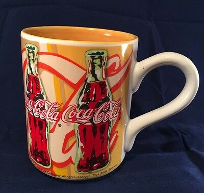 1998 coca-cola coffee cups/mug with handle from the gibson company green/red