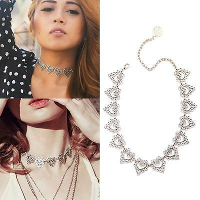 Womens Vintage Boho Silver Coin Hollow Peach Heart Choker Chain Necklace Jewelry