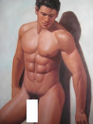 "Naked Man -- Nude Male -- Original Oil Painting --  20"" X 24"""