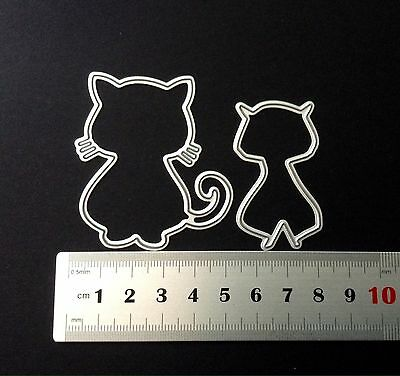 2pce Cute Cats Cutting Dies For Scrapbooking And Card Making