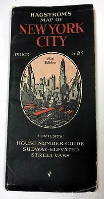 Hagstrom's Map ~ New York City ~ 1936 Edition Subway, Elevated, Surface Lines