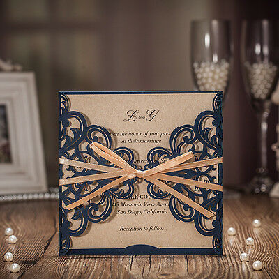 Custom Personalized Blue Laser Cut Wedding Invitation Card with Ribbon 50pieces