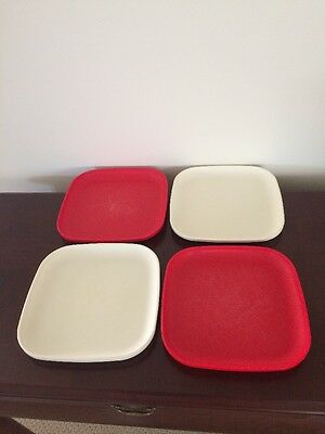Tupperware Square Luncheon Plates - Set of 4 - used condition