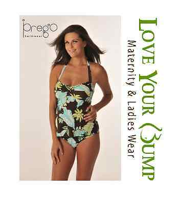 Medium Prego Maternity Brown with Teal Flowers 2pc Halter Swimsuit Tropic Night