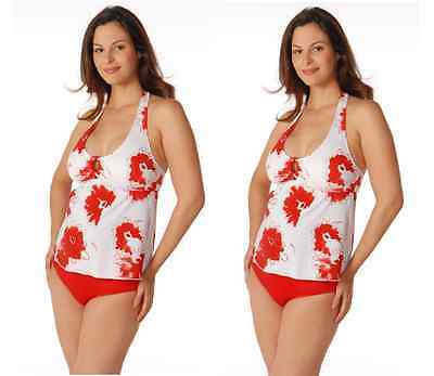 Small Prego Maternity Red White Blooms 2pc Halterkini Swimsuit 2802