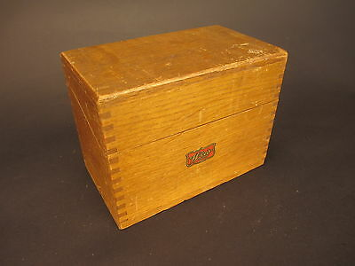"""Vintage WEIS Dovetailed Wood Index Card File Box for 3"""" x 5"""" Cards"""