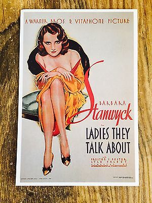 "VINTAGE MOVIE POSTCARD ""Ladies They Talk About"" RARE BARBARA STANWYCK"