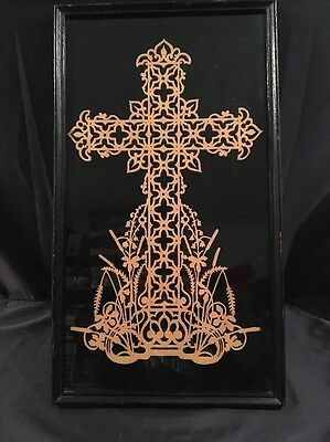 Antique Vintage Wood Framed Jigsaw Carved Cross Crucifix Very Old