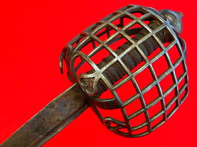 "Rare 18th C. American Revolution Used English Scottish ""Chain Hilt"" Basket Sword"