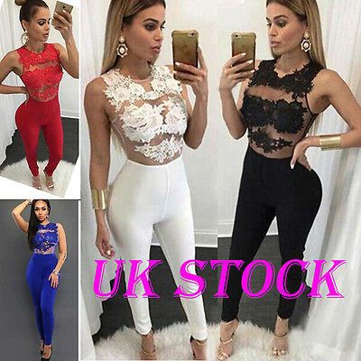 UK Womens 4 Colour Lace Long Jumpsuits Ladies Sleeveless Evening Party Playsuit