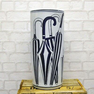"""18"""" Blue and White Umbrella Stand Brolly Pot"""