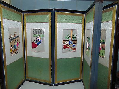 "Vintage Korean 6 Panel Embroidered Silk Table Screen 20"" X 9"" Ea Panel  Post 194"