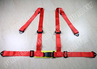 3 4 Point Red Racing Seat Belt Harness Kit For Car / Off Road / 4x4 UK