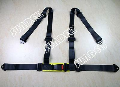 3 4 Point Black Racing Seat Belt Harness Kit For Car / Off Road / 4x4 UK