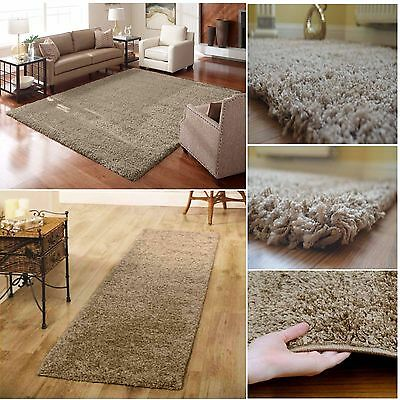 Super Soft Ultra Thick Beige Plain Pile Shaggy Area Rug Luxury Nonshed Shag Rugs