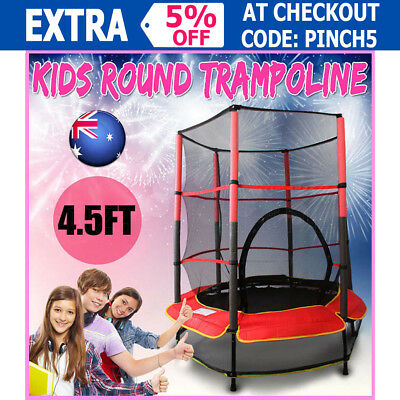 New Mini Junior Round Trampoline With Enclosure Safety Net 55'' 4.5FT Exercise