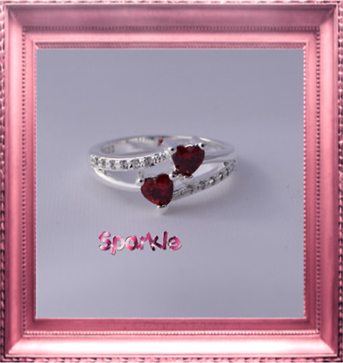 Elegant Girls White Gold Red Heart Diamond Ring 5-7 years FREE AUSPOST Signet