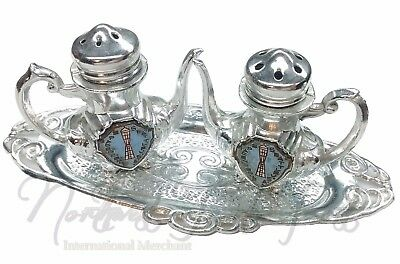 Seattle WA Space Needle Tea Kettle Salt & Pepper Shakers Set Silver with Tray