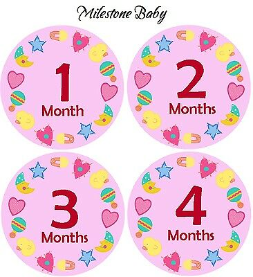 Milestone Baby First Year Monthly Age Girl Belly Stickers - Pink