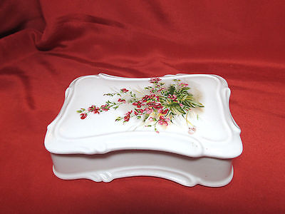 Vtg Hand Painted Porcelain Floral Covered Trinket Dresser Vanity Box