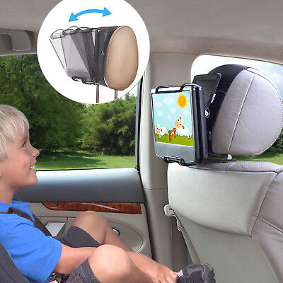 Car Headrest Mount Holder Angle-adjust Clamp for Swivel Portable DVD Player