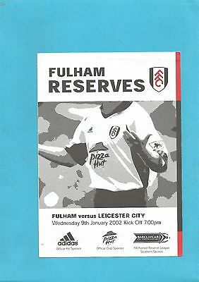 Fulham Res v Leicester City Res 9th January 2002 VGC