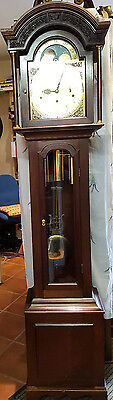 Hardwood Hermle 8 day Moon Phase Triple Chime Grandfather Clock, Del Arranged