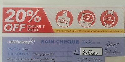 Jet 2 voucher £60 off you next holiday+20%off in flight retail.