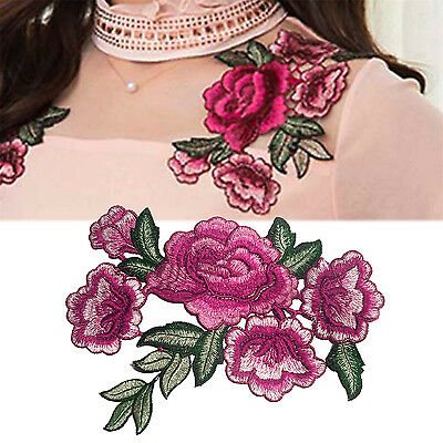 GOOD Embroidered Sew Iron on Patch Badge Rose Flower Bag Hat Dress Applique DIY