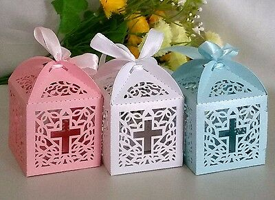 10/25/50 Christening Cross Laser Cut Favour Box Bomboniere Candy Party Baby Gift