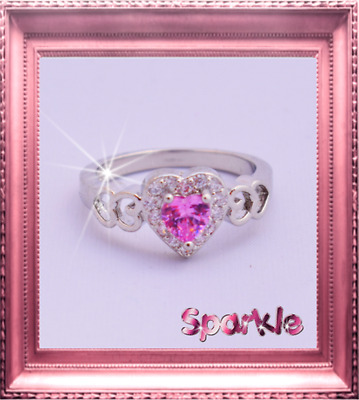 Elegant Girls White Gold Pink Heart Diamond Ring 7-9 years FREE AUSPOST Signet