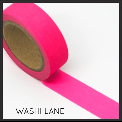 Washi Tape - Solid Bright Neon Pink - 15mm x 10m Masking Tape