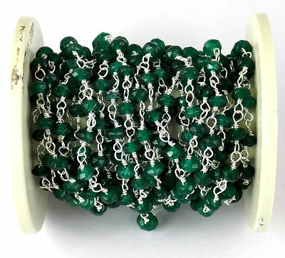 10 Feet Emerald Chalcedony 925 Silver Plated Gemstone Faceted Beaded chain 3-4mm