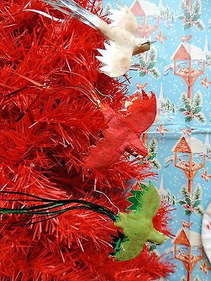 Vintage CHRISTMAS 1940s FELT & FOIL red GREEN & white SWALLOW bird DECORATIONS