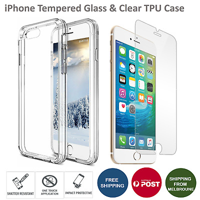 Clear Soft TPU Case Cover With Tempered Glass Screen Protector for iPhone 6 6+