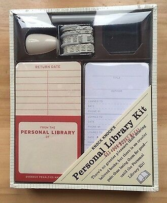 Personal Library Kit by Knock Knocks - Date Stamp, Checkout Cards, Card Pockets