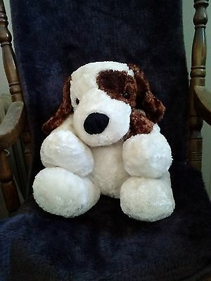"""DAN DEE Collectors Choice White Dog with Brown Eye Patch 20"""" Soft"""