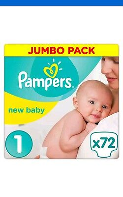 2 x pampers new baby jumbo pack nappies - size 1 newborn - 144 nappies