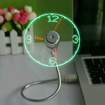 USB Mini Flexible Time LED Clock Fan with LED Light Cool Gadget Flexible Usb