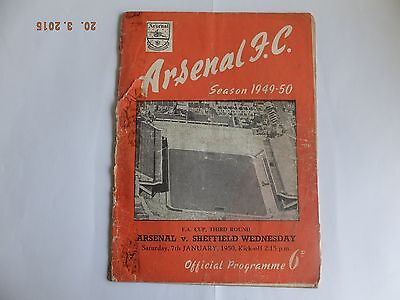 Arsenal v Sheffield Wednesday - FA Cup 3rd round - Sat 7th Jan 1950
