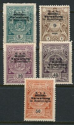 6 Montenegro Wwi Austrian Occupation Revenue Stamps 1916 Barefoot Very High Valu