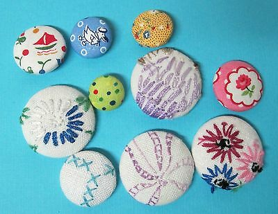 Mixed Lot of 10 Fabric & Embroidery Buttons 1 1/2 to 7/8 inch Great Shape Fun!