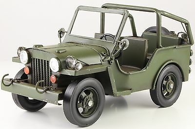 Blechauto -Army Jeep- A Tin Model Of An Army Jeep 16 cm x 15 cm x 32 cm BL 241