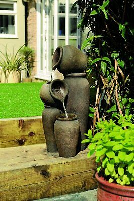Ceramic vase indoor outdoor water feature with LED light