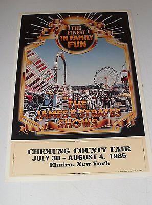 1985 Chemung County Fair Poster James Strates Shows The Finest In Family Fun